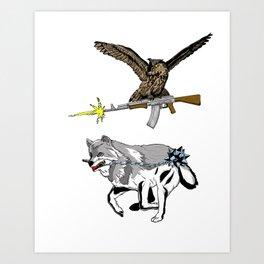 OWL WOLF ALLIANCE 3 Art Print