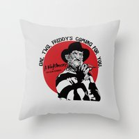 freddy krueger Throw Pillows featuring Freddy K quote by Buby87