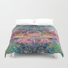 Gold watercolor and nebula mandala Duvet Cover