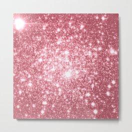 Pink Sparkle Stars Metal Print