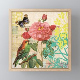 A rose with a bird and a butterfly Framed Mini Art Print