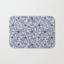 Indigo Summer - a hand drawn floral pattern Bath Mat