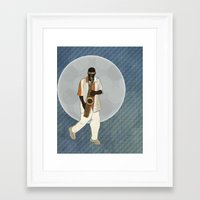 saxophone Framed Art Prints featuring Saxophone Musician by Aquamarine Studio
