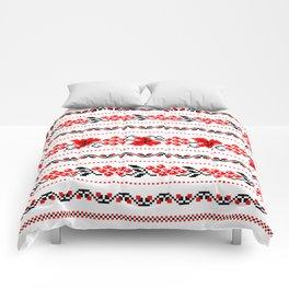 Ethno Ukrainian Pattern - Grape Guelder rose Oak - Symbol Comforters