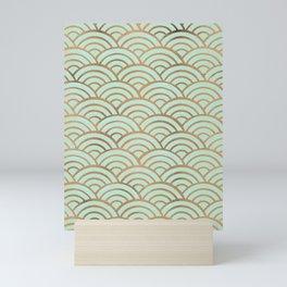Japanese Seigaiha Wave – Mint & Copper Palette Mini Art Print