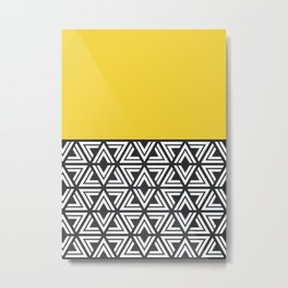 Black, White and Yellow Geo Metal Print