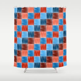 background squares blue red embroidery Shower Curtain