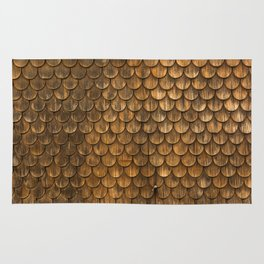 Weathered wall of wooden shingles Rug