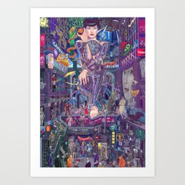 Android Eva and the Electric Apple Art Print