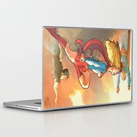supergirl Laptop & iPad Skins featuring Super Family - Superman SuperGirl and SuperBoy by Brian Hollins art
