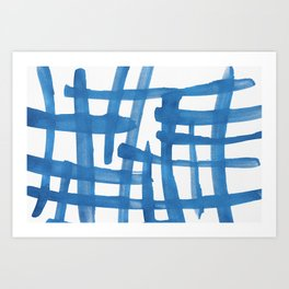 Abstract Lines Painting Blue and White 01 Art Print