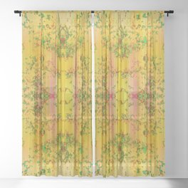 fresh stylized garden Sheer Curtain