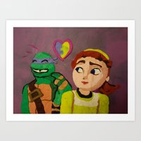 Donnie and April are cute-clay illustration Art Print
