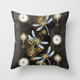 Steampunk Dragonflies Throw Pillow