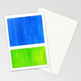 Abstract Minimalist Mid Century Modern Watercolor Geometric Squares Rothko Lime Green Marine Blue Stationery Cards
