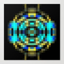 geometric square pixel abstract in blue and yellow with black background Canvas Print