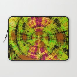 vintage psychedelic abstract pattern in green pink brown yellow Laptop Sleeve