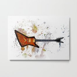 Guitar Splash Paint Metal Print