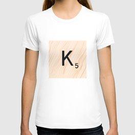 Scrabble Letter K - Large Scrabble Tiles T-shirt