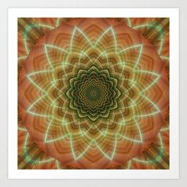 Mandala fractal flower orange Art Print
