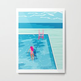 In Deep - memphis throwback swimming athlete palm springs resort vacation country club infinity pool Metal Print