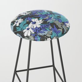 Floral Forest in Blue Bar Stool