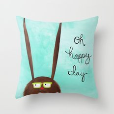 Happy Bunny Throw Pillow