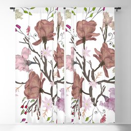 Floral Flourish pattern with roses and iris flower Blackout Curtain