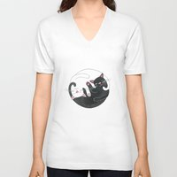 philosophy V-neck T-shirts featuring Cat Philosophy by Emily Andrus Lopuch