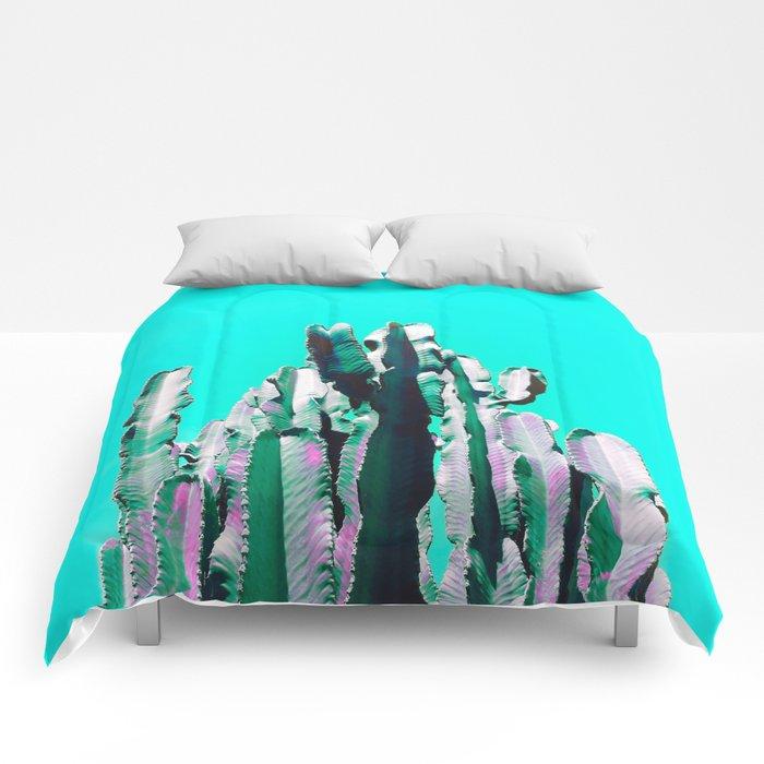 Majestic Cactus - Aqua Comforters