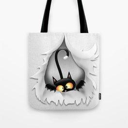 Fun Cat Cartoon in ripped fabric Hole Tote Bag