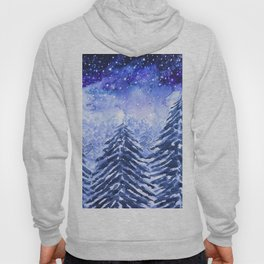 pine forest under galaxy Hoody