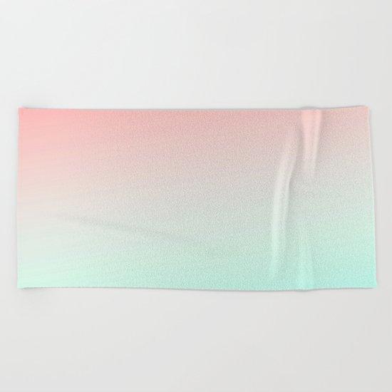 Ombre gradient digital illustration coral green colors Beach Towel