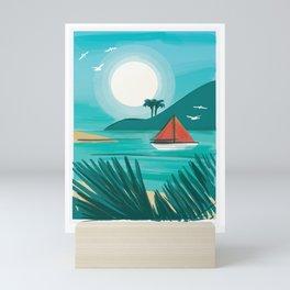 Beach with sailboat and sun Mini Art Print
