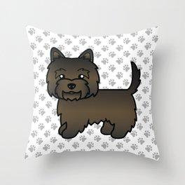 Cute Dark Brindle Cairn Terrier Dog Cartoon Illustration Throw Pillow