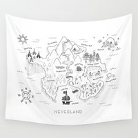 neverland Wall Tapestries featuring Neverland Map B&W by Merlin