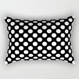 White Polka Dots with Black Background Rectangular Pillow