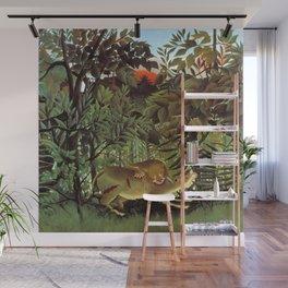 "Henri Rousseau ""A Lion Devouring its Prey"" Wall Mural"