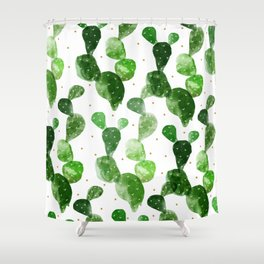 cactus watercolor pattern Shower Curtain