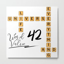 Life Universe and Everything Scrabble 42 Metal Print