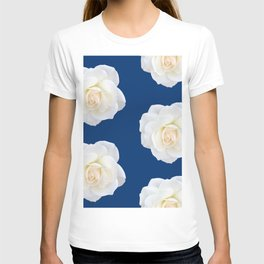 Cream Rose Polka Dot on Blue T-shirt