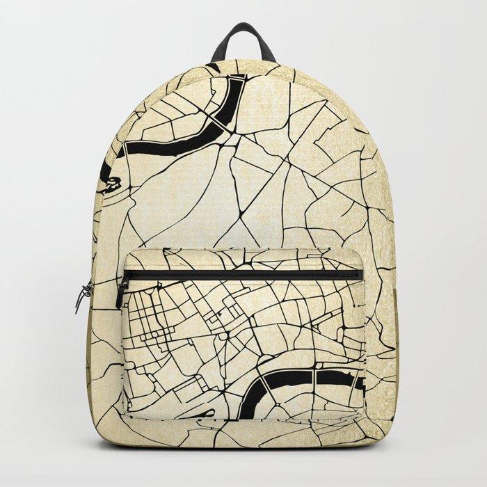 London Gold on Black Street Map Backpack
