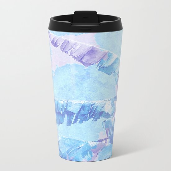 Banana Jungle - Blue & Pink Metal Travel Mug