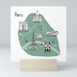 Mapping Paris - Green Mini Art Print