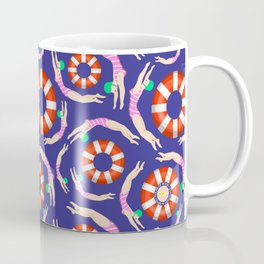 Summer Swimmers in Pink on Navy | Floats | Life Savers | pulps of wood Coffee Mug