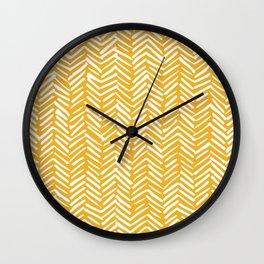 Boho Mudcloth Pattern, Summer Yellow Wall Clock