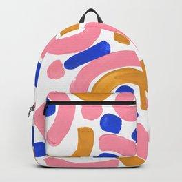 Colorful Minimalist Mid Century Modern Shapes Pink Ultramarine Blue Yellow Ochre Round Maze Pastel Backpack