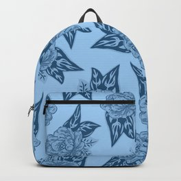 Cabbage Roses in Blue Backpack