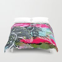 alisa burke Duvet Covers featuring pink and black by Alisa Burke