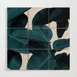 Indigo Blue Plant Leaves Wood Wall Art